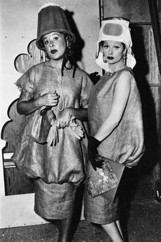 I Love Lucy ... Ethel and Lucy wearing what they think are designer dresses in Paris made of burlap and ice buckets!