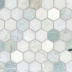 Accent tile: Caribbean Green Hexagon Tumbled Marble Mosaic - 12 x 12 - 100052604 Stone Tile Flooring, Kitchen Flooring, Kitchen Backsplash, Kitchen With Tile Floor, Bathroom Floor Tiles, Shower Floor, Hexagon Floor Tile, Green Marble Bathroom, Honeycomb Tile