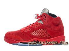 homme Air Jordan 5 Retro Red Suede 136027-602 Chaussures jordan Officiel Site Pour Rouge