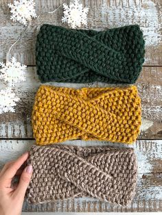 Your place to buy and sell all things handmade, Knitted Headband / Twisted Headband / Jade Headband / Yellow Baby Knitting Patterns, Loom Knitting, Knitting Stitches, Free Knitting, Crochet Patterns, Crochet Boot Cuffs, Crochet Boots, Knit Headband Pattern, Knitted Headband