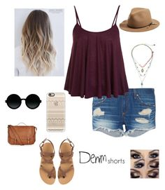 """""""Denim casual"""" by maggss123 ❤ liked on Polyvore featuring rag & bone, Miss Selfridge, Valia Gabriel, Accessorize, Betsey Johnson, Casetify, Moscot, jeanshorts, denimshorts and cutoffs"""