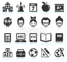 school and education black & white vector icon set Royalty Free Stock Vector Art Illustration