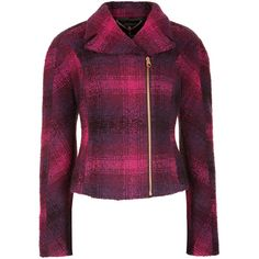 Ted Baker Check Wool Biker Jacket, Purple ($175) ❤ liked on Polyvore featuring outerwear, jackets, coats & jackets, coats, moto jacket, cropped wool jacket, long sleeve jacket, wool biker jacket and purple motorcycle jacket