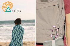 The Acteon towel is three times smaller than your regular cotton beach towel. The marked guidelines assist the user in folding the towel into a compact bundle.