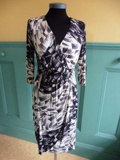 SIZE UK 12 PER UNA MARKS & SPENCER M&S BLACK & CREAM WRAP STYLE JERSEY DRESS | eBay