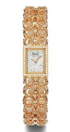 Piaget Couture Précieuse gold chain cuff watch in rose gold set with 159 brilliant-cut diamonds (approx. Trendy Watches, Gold Watches Women, Rose Gold Watches, Fine Watches, Diamond Watches, Expensive Watches, Beautiful Watches, High Jewelry, Gold Set