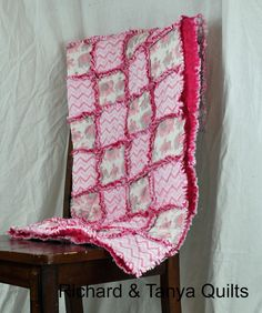 Pink Chevron and Elephant Rag Quilt 38 by 42 by RichardQuilts