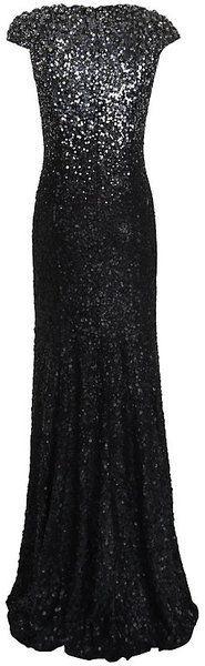 Jenny Packham Black Degrade Sequin Gown