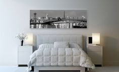 You can travel from your own bed thanks to art. Cityscapes, Canvas, Bed, Travel, Furniture, Home Decor, Tela, Viajes, Decoration Home
