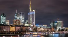 The Best Side Of Town - Frankfurt as seen from the Main river on a cold December night. This is a panorama stitched from 4 images shot with the Nikon D810 and the 85mm 1.8 lens, a huge file with 13400 x 7500 pixels. The sharpness of this camera/lens combination never ceases to amaze me. You can clearly see the furniture and the computers on the desks behind the windows of the office buildings.  Thanks for your visit. If you like my images, stop by at <a…