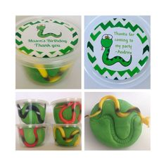 6 Snake Play Dough Party Favours. Reptile Party Bag. by Dough4Fun