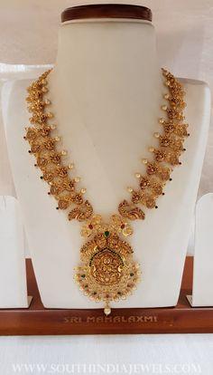 Antique Nakshi Kasu Haram From Mahalaxmi Jewellers ~ South India Jewels Gold Jewelry Simple, Indian Wedding Jewelry, Bridal Jewelry, Indian Bridal, South Indian Jewellery, Gold Jewellery Design, Handmade Jewellery, Jewels, India Jewelry