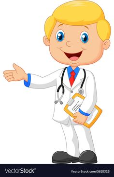 Cartoon doctor smiling and waving vector image on VectorStock All About Me Preschool, Math For Kids, Cute Funny Baby Videos, Cute Funny Babies, Teacher Cartoon, Community Helpers Preschool, Chibi Boy, Chinese Lessons, Kids Vector
