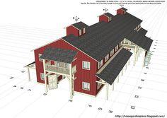 home garden plans: H20B1 - 20 Stall Horse Barn Plans - Large Horse Barn Plans - How To Build A Horse Barn