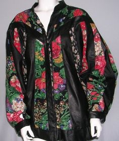 """Vintage Black Leather Jacket With Multi-Color Floral Design,-Size 2x by Judith Ann Plus-Leather and Rayon Lining-Beads and sequin throughout-Width-35""""/Length 31""""-Velcro clasp at bottom of sleeves-plus size-$55.70"""