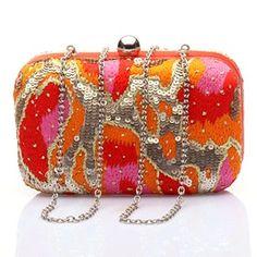 #KUNST Orange #clutch. Bold and Bright Orange clutch with thread and sequins work. #bollywoodandfashion