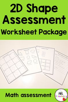 This 2D Shape Assessment is a great way to wind up all of your 2D shape activities and assess your students' understanding. This simple printable can be used as worksheets for kids or an assessment piece for teachers. Students need to draw, name and recognize common 2D shapes and identify real life examples of 2D shapes. A great addition to your geometry math lessons at school or home. Use with your Preschool, Kindergarten and 1st Grade students. {Grade 1, Year 1} First Grade Assessment, Pain Assessment, Life Cycle Assessment, Formative And Summative Assessment, Kindergarten Math Worksheets, Phonics Activities, Newborn Assessment, Nursing Assessment, Shape Activities