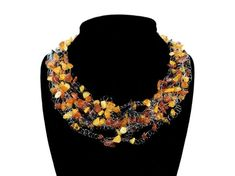 Multicolor Baltic Amber Floating Necklace. Multistrand Amber Chip Nugget Necklace Choker Collar. Amber Jewellery. Bridesmaid Wedding Jewelry Amber Gemstone, Gemstone Jewelry, Beaded Jewelry, Jewellery, Amber Jewelry, Baltic Amber, Bead Caps, Necklaces, Bracelets
