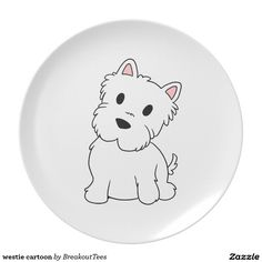 westie cartoon dinner plate