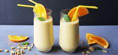 Smoothie med mango og kokosmelk Glass Of Milk, Panna Cotta, Mango, Ethnic Recipes, Smoothie, Drinks, Food, Manga, Drinking
