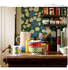 bowls, print and tins