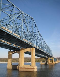 Murray Baker Bridge in Peoria, Illinois, as seen from cruise on The Spirit of Peoria paddleboat