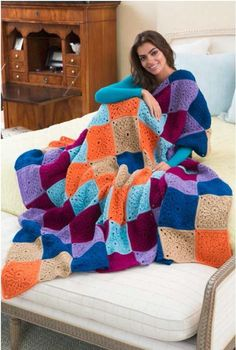 Big Hug Square Crochet Blanket | AllFreeCrochetAfghanPatterns.com