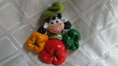 Cold Porcelain, Cow, Stuffed Peppers, Vegetables, Biscuit, Cold, Home Decorations, Ornaments, Pottery Designs