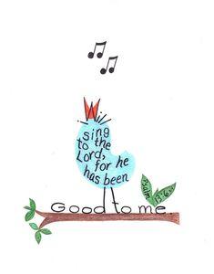 Singing bird drawing. inspirational bible verse print.. $10.00, via Etsy.
