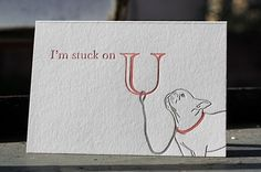 French Bulldog Letterpress Love Note Card by FatBunnyPress on Etsy, $5.00
