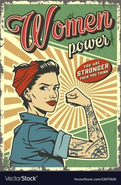 Buy Vintage Woman Power Poster by imogi on GraphicRiver. Vintage woman power colorful poster with pin up strong pretty girl with tattoo on arm vector illustration Foto Poster, A4 Poster, Poster Wall, Poster Prints, Bedroom Wall Collage, Photo Wall Collage, Photowall Ideas, Room Posters, Theatre Posters
