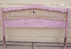 A Bit O' Whimsy used Henrietta with dark wax on this headboard Repurposed Furniture, Painted Furniture, Dark Wax, Antique Hardware, Annie Sloan, Chalk Paint, Valance Curtains, Toy Chest, Whimsical