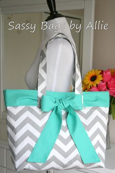 Grey Chevron Purse with Turquoise BowLarge by allisonblaylock, $45.00