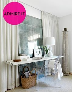 Admire It + Acquire It: Calming White Office Nook — Decor Style Collage: Simple Chic
