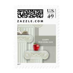 Happy Teachers Day. Teacher Appreciation Day Postage Stamps. Matching cards, postage stamps and other products available in the Business / Occupation Specific / Education, Childcare Category of the Mairin Studio store at zazzle.com
