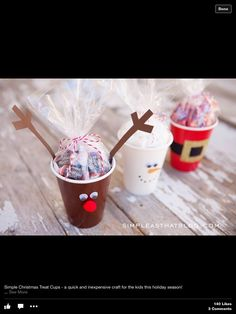 Simple Christmas Treat Cups – quick and inexpensive fun for the kids this holiday season! These cute cups are perfect for party favours, classroom treats and double as an easy holiday craft! Easy Christmas Treats, Best Christmas Recipes, Christmas Party Favors, Christmas Crafts For Kids, Holiday Treats, Simple Christmas, Holiday Fun, Kids Crafts, Christmas Gifts