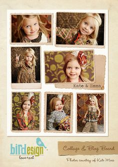 Blog Board & 16x20 Collage Template  Kate and Emma  by birdesign, $8.00