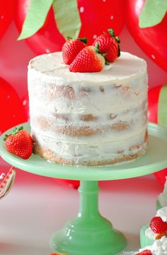 Berry Sweet Strawberry Valentine's Day Party with FREE printables! By Kara's Party Ideas for Canon. Strawberry Vanilla naked cake.