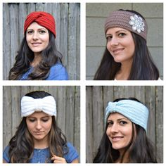 Which is your favorite? This is 100% hand-made (right here in the USA) using the best quality materials available. I only use soft, thick, cozy yarn in all of my headbands. Save Pin and Shop at www.galinashandmade.com