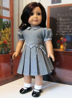 """Asymmetrical 1930's  School Frock - Clothes Made to Fit 18""""  American Girl Doll, An Original  KeeperDollyDuds Design. Sold 5/24/14 for $74.49 on etsy."""