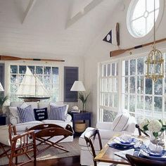 Seaworthy Style cottage living room with white paneling & navy accents – great nautical or ocean look Fresh Living Room, Coastal Living Rooms, Cottage Living, Coastal Cottage, Coastal Homes, Coastal Decor, Living Room Decor, Coastal Colors, Dining Room