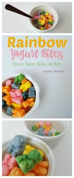 Rainbow Yogurt Bites are such a fun and colorful treat. Kids don't have to know that parents love to give them this healthy snack! Easily make these frozen yogurt bears and dots for snacks, treats, or lunches! Healthy Snacks For Kids, Healthy Treats, Healthy Recipes, Kid Snacks, Healthy Eating, Easy Recipes, Rainbow Treats, Rainbow Food, Kids Meals