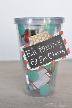 Give the gift of a new cup (a favorite drink gift card) and chocolates. Every girl's favorites! Plus, free printables for the tag and the chocolates!