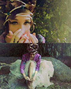 fairy love headband of feathers leaves flowers
