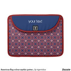 """Rickshaw MacBook sleeve with red and blue motif. Made with water resistant fabrics and an ultra-plush padded liner, this sleeve is  perfect to protect your device, without a style sacrifice. Water resistant, extra durable. Ultra-plush, laptop-grade padded liner. Secure velcro flap closure. Available for MacBook Pro 13"""" and MacBook Pro 15"""" on Zazzle $75,95"""