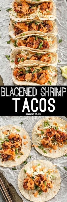 Smoky and spicy shrimp, sweet and tangy slaw, and a zesty garlic lime sauce make these Blackened Shrimp Tacos seriously delicious! @budgetbytes #seafoodrecipes