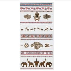 Bird Elephant Metallic Temporary Tattoos Body Art Sticker