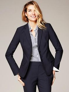 Navy Lightweight Wool Two-Button Suit Blazer from Banana Republic