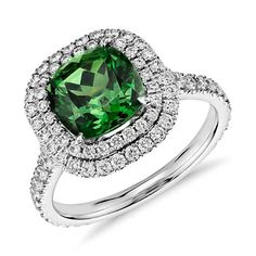 Green Tourmaline and Micropavé Diamond Double Halo Ring in White Gold cts center) Tourmaline Ring, Green Tourmaline, Wedding Ring Designs, Wedding Rings, Blue Nile Jewelry, Double Halo Rings, Titanic Jewelry, Dream Engagement Rings, Diamond Are A Girls Best Friend