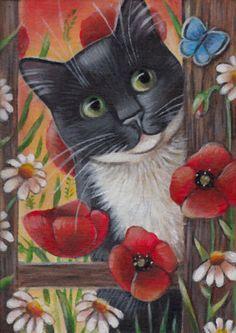 Tuxedo Cat Spring Painting